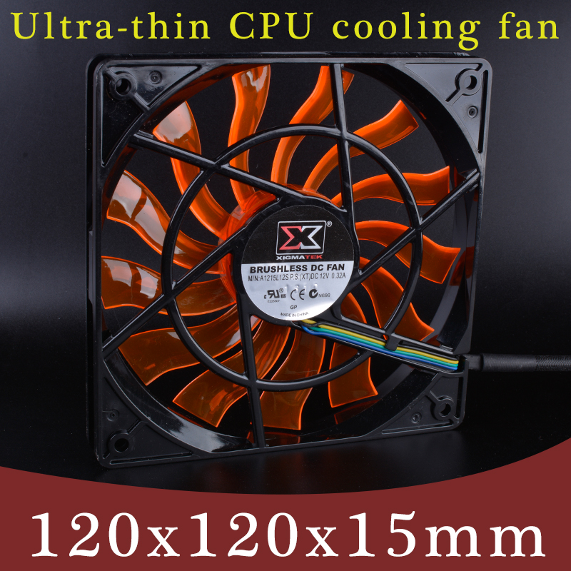 XIGMATEK 120mm fan 120x120x15mm 12V 0 32A Computer CPU four wire PWM ultra thin cooling fan