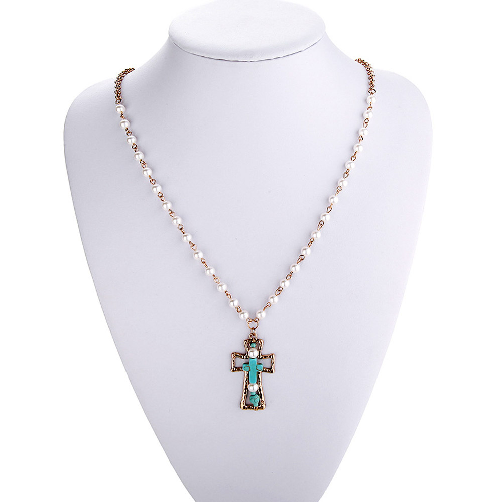 Europe Long Simulated Pearl Beads Chain Necklace Women Antique Faux  Turquoise Stone Cross Pendant Necklace From