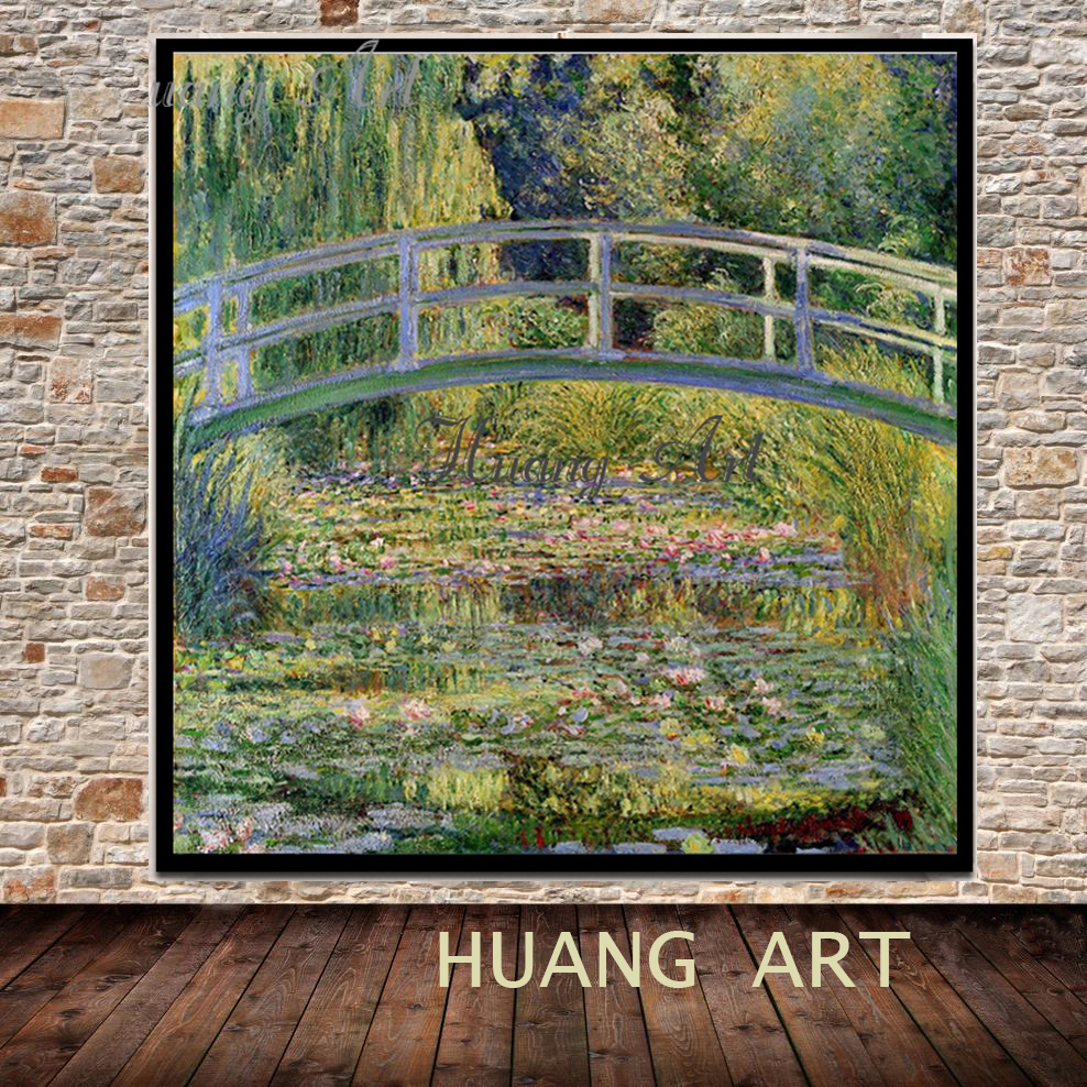 Hand painted High Quality Monet classics Water lily Bridge works impressionist art Oil Painting On Canvas Painting