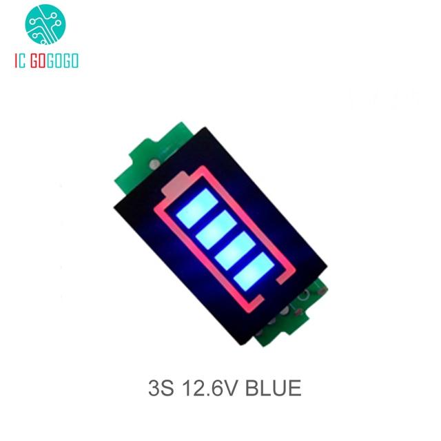 3S 3 celular Indicador de capacidad de batería de litio para 12,6 V pantalla azul eléctrico vehículo eBike batería medidor de corriente Li po Li ion
