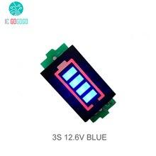 Módulo de indicador de capacidade de bateria de lítio, célula de 3s, 12.6v display azul, veículo elétrico ebike, testador de bateria li po li ion