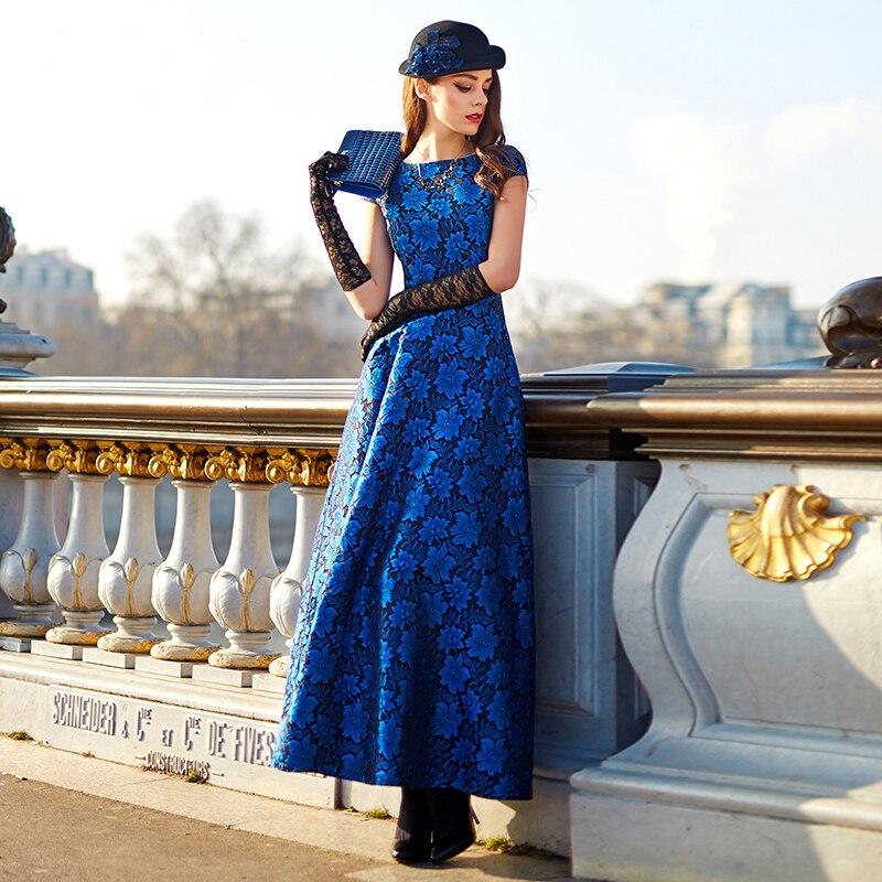 High Quality Plus size fashion women summer dress Boho New Elegant Blue floral Jacquard Dress Vintage
