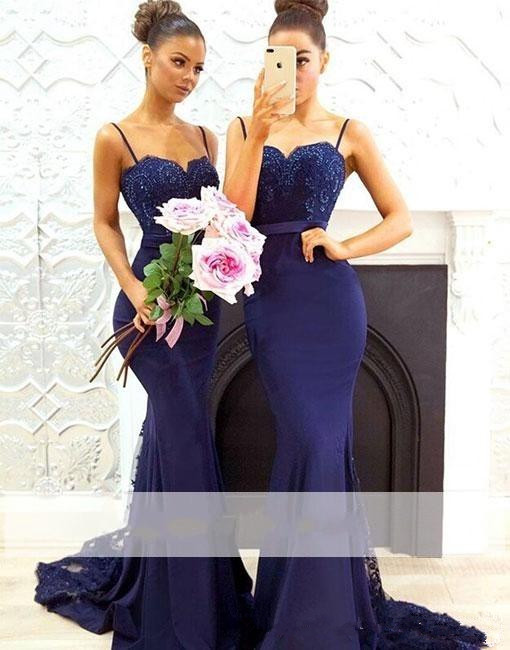 Blue 2019   Bridesmaid     Dresses   For Women Mermaid Spaghetti Straps Lace Beaded Long Cheap Under 50 Wedding Party   Dresses