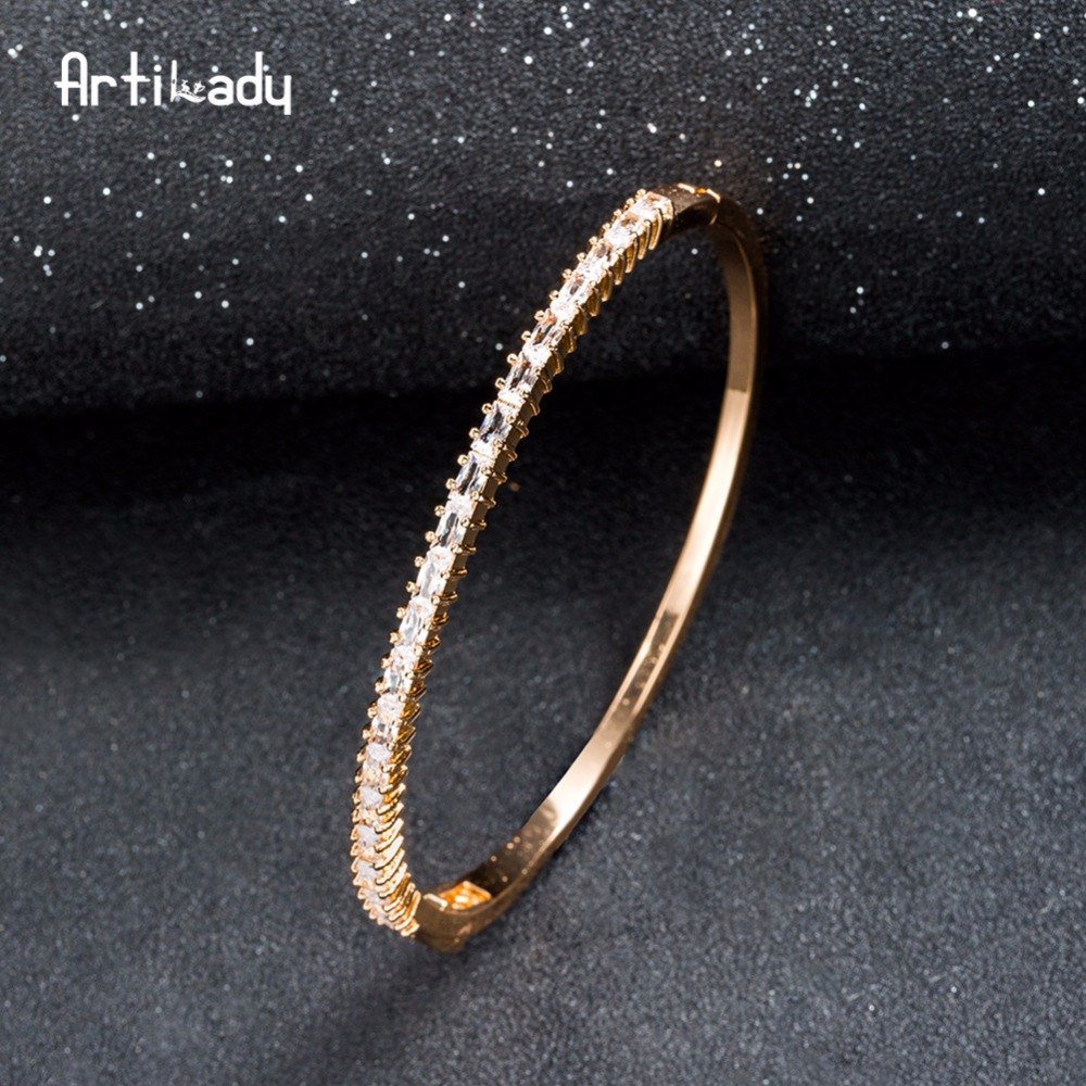 Artilady Elegant Rhinestone Bangle Rose Gold Color Bracelet Bangle For Women Jewelry Gift