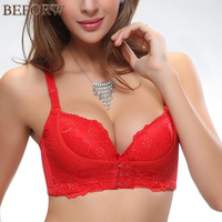 Sexy Lace Embroidery Bra Women Push Up Front Closure Bras Massage Bralette Adjustable Underwear Super Thick