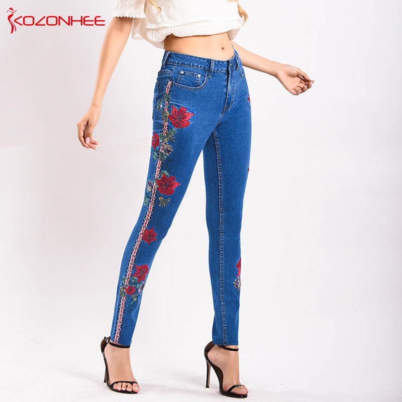 Fashion Sexy Embroidery Jeans Women Tight Stretch Side Stripe Mid Waist elasticity Jeans Women