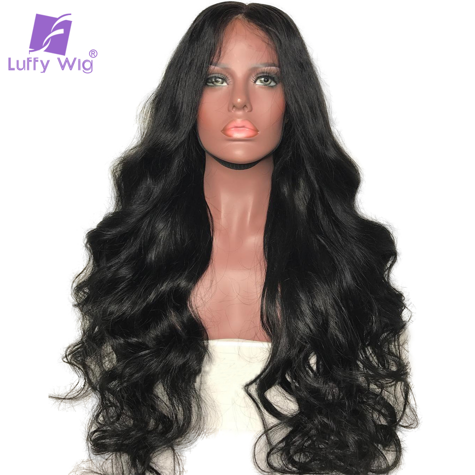 Luffy Body Wave Full Lace Human Hair Wigs With Baby Hair Pre Plucked Brazilian Non-Remy Hair Glueless Lace wig 130%density