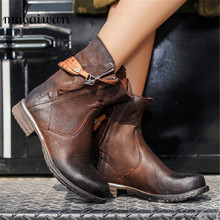 Women Flat Zipper Chelsea Boots Pleated Vintage Shoes Woman Military Martin Boots Zapatos Mujer Motorcycle Ankle Boots