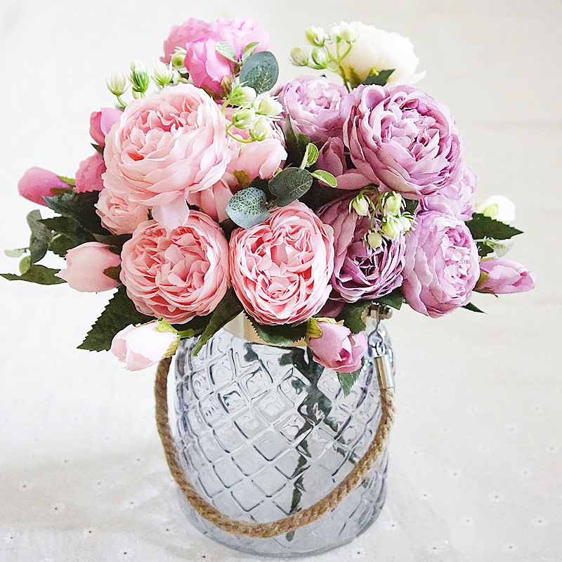 8 Heads Artificial Rose Flowers Decorative Silk Flowers Fake Bouquets for Home Party Decoration Wedding Flowers Wreath Garland