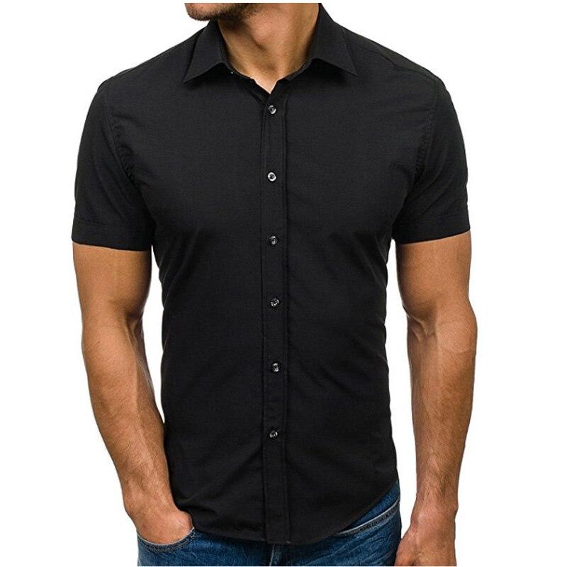 2018 sommer Mode Männlichen Shirt Kurzen Ärmeln Tops Einfache Feste farbe Mens Dress Shirts Dünnen Männer Shirt Hawaiian Plus Größe 5XL