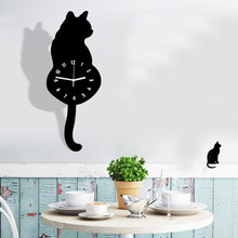 Aimecor Naughty Cat Acrylic Electronic Desk Clock Wall Clock Modern Design relogio de parede AA Battery Clock for Home 34(China)