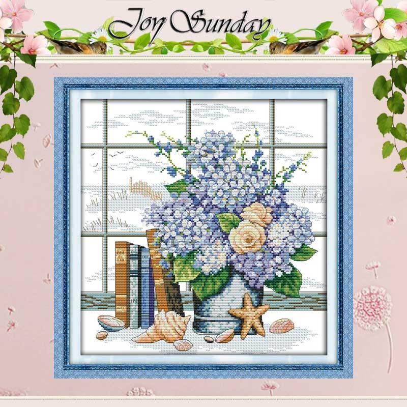 블루 우아한 꽃 십자가 스티치 11CT 인쇄 14CT 크로스 스티치 세트 도매 크로스 스티치 키트 자수 바느질 세어