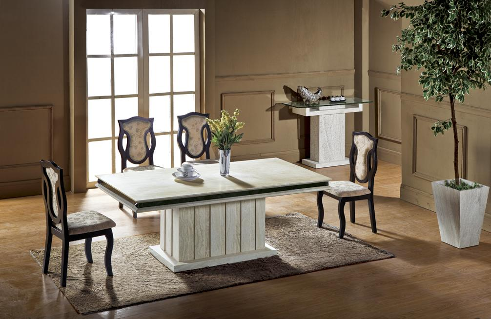 Luxury Travertine Dining Table Set High Quality Health Natural Stone Marble Furniture Rectangle NB