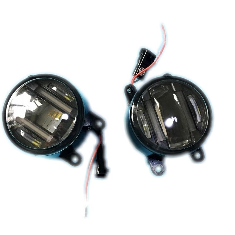For Citroen C3 C4 C5 C6 2in1 DRL Daytime Running Lights 18W Cut-Line Lens Fog Lights Head Lamp Car Styling for mitsubishi outlander xl 2006 2012 2in1 18w 1800lm led fog lights white cut line lens drl daytime running lights car styling