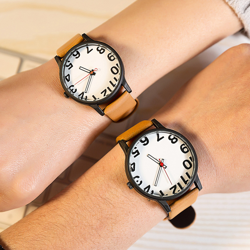 Hot Fashion Brand Couple Lover Wrist Watches Red Pointer Simple Style Quartz Watch Men And Women School Clock With Leather Belt