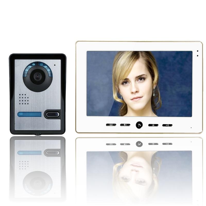 10 Inch TFT Color Video Door Phone Intercom Doorbell System Kit IR Camera Doorphone Monitor Speakerphone Video Intercom System