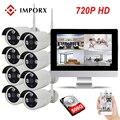 """Güvenlik ve Koruma'ten Gözetim Sistemi'de IMPORX 720 P 8CH CCTV Sistemi Kablosuz 13 """"LCD NVR Güvenlik Kamera Sistemi 1.0MP IR Açık P2P Wifi IP kamera Gözetim Kiti"""