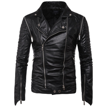 MarKyi EU size 5xl mens leather jackets and coats good quality long sleeve zipper men motorcycle jacket slim fit