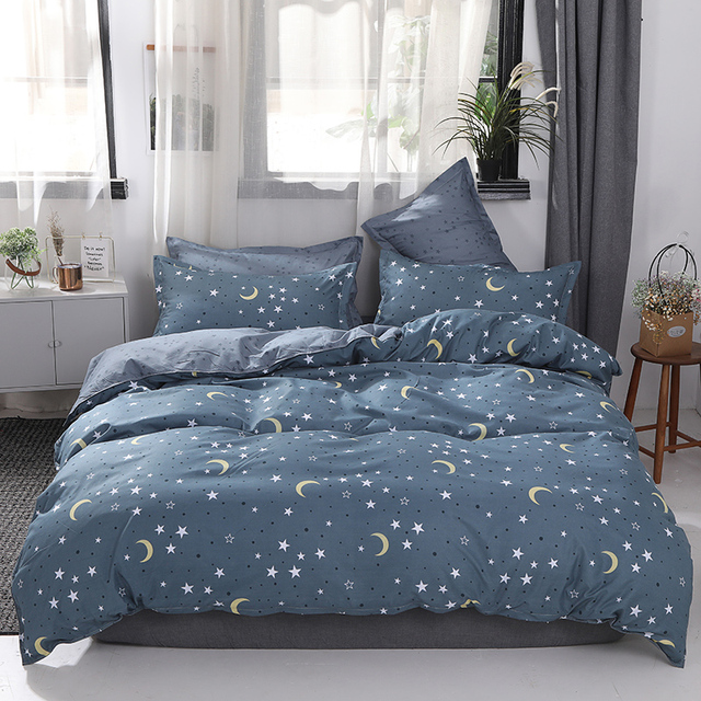 BEST.WENSD Warm bedclothes Duvet Cover+Bedsheet+Pillowcases 6 size bed set Stars Moon adulte wedding decoration home bedding set