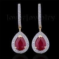 100% Naturalne Diamentowe Kolczyki, Biżuteria E0002J 14Kt Yellow Gold Ruby Engagement Kolczyki Dla Kobiet