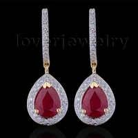 Loverjewelry 100% Natürliche Diamant Ohrringe Mode Schmuck 14K Gelb Gold Rubin Engagement Ohrringe Für Frauen Liebe Schmuck Geschenk