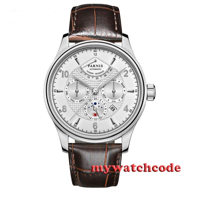 42 мм Parnis белый циферблат сапфир Стекло 26 Jewels Miyota Автоматическая Мужские часы P537