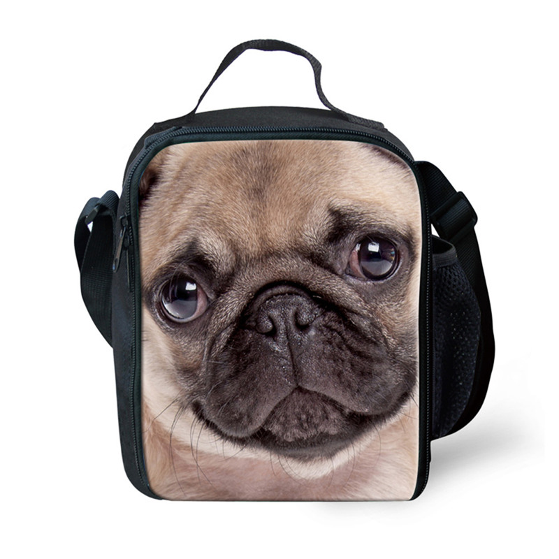 THIKIN Insulated Lunch Bag 3D Lovely Cats Pug.Picnic Bags Women Thermal Cooler Bags For Kids Lunchbox Zipper Portable Food Bags