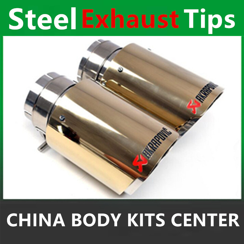 Car-Styling Coated Stainless Steel Universal Car Exhaust Pipe Tip Tailtip 90mm / 60mm Akrapovic Car Exhaust Matte Black stylish stainless steel car exhaust pipe muffler tip