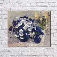 Thick Blue Flower Garden Classic Picture Handpainted Oil Painting On Canvas Wall Art Wall Pictures For Living Room Home Decor