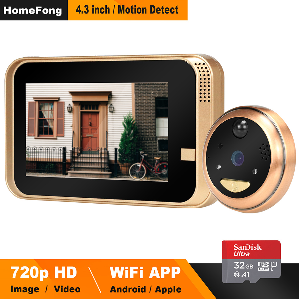 HomeFong Smart Video Peephole Wifi Doorbell Camera Wireless Video Door Phone for Home with Wide Angle