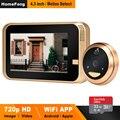 HomeFong Smart Video Kijkgaatje Wifi Deurbel Camera Draadloze Video Deurtelefoon voor Thuis met Groothoek IR Bewegingsdetectie Opnemen