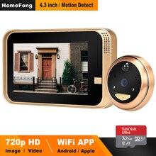 HomeFong Smart видео глазок беспроводной дверной звонок Камера Беспроводной видео-телефон двери для дома с Широкий формат ИК обнаружения движения запись