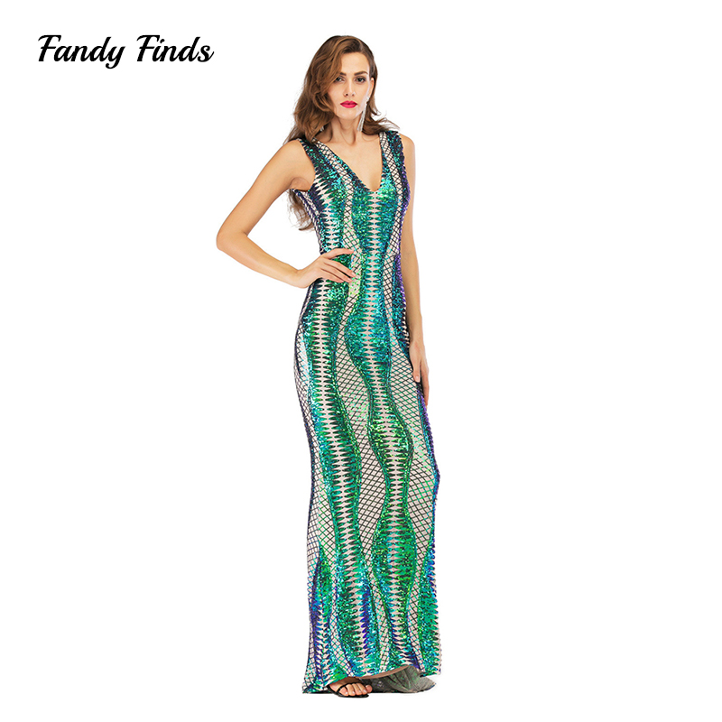 Женское платье с блестками Fandy Finds, платье с глубоким v образным вырезом и открытой спиной, без рукавов, для ночного клуба, вечеринки, банкета,