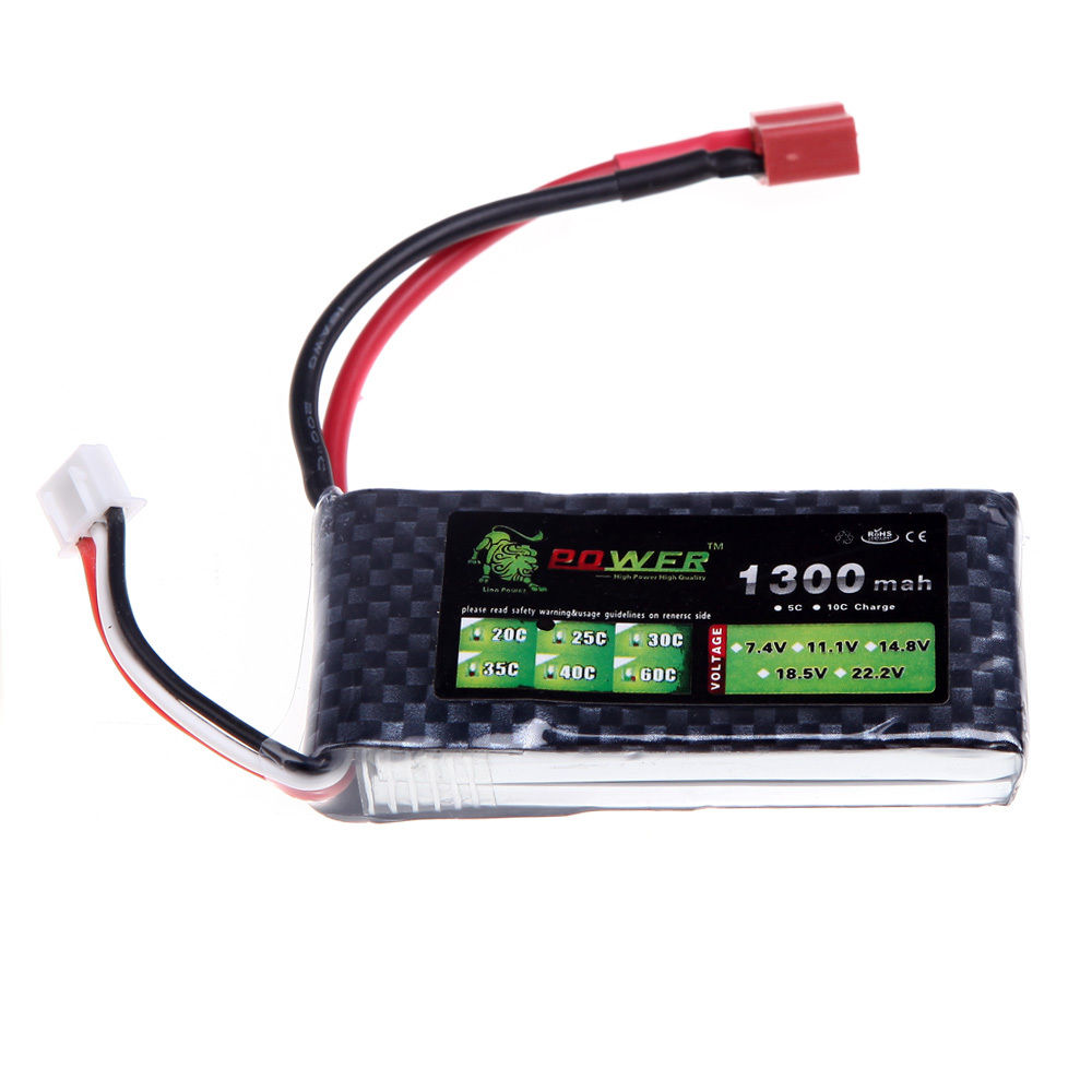 Lion Power 1300Mah 7.4V 25C Max 40C 2S LiPo Battery T Plug For RC Plane Helicopt image