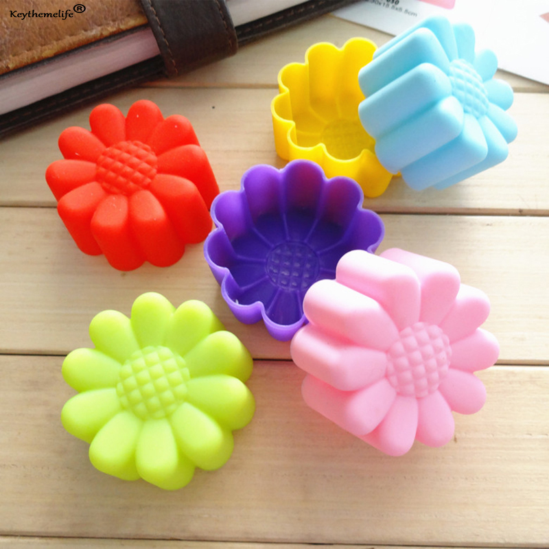 12Pcs Flower Shape Silicone Muffin Cases Cake Cupcake Liner Baking Mold Bakeware Maker Mold Tray Pastry Baking Cup Cake Tool in Cake Molds from Home Garden
