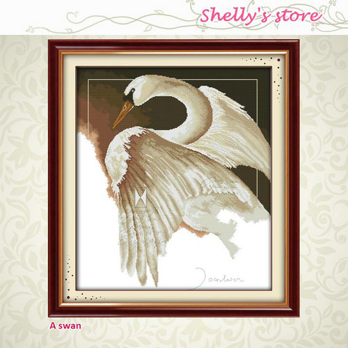 A swan duck animal painting pattern Counted or Stamped Cross-Stitch Needlework DIY DMC C ...