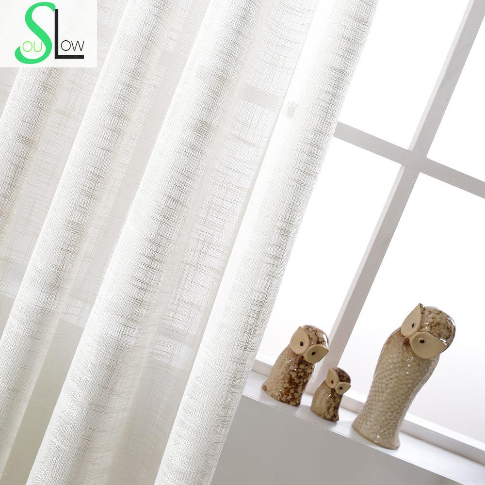 White Cotton Texture American Country Style Decorative Cloth Curtain ...