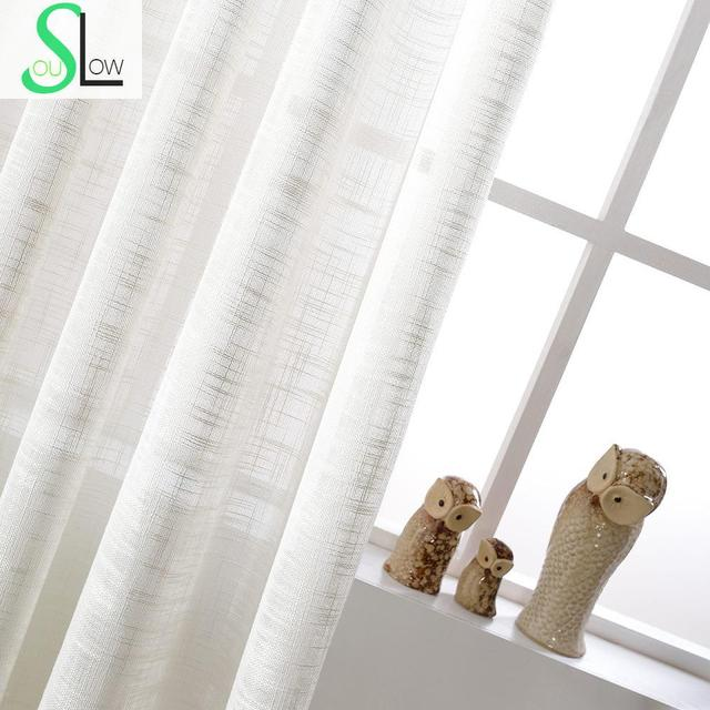 White Cotton Texture American Country Style Decorative Cloth Curtain French Tulle Curtains For Living Room Cortinas