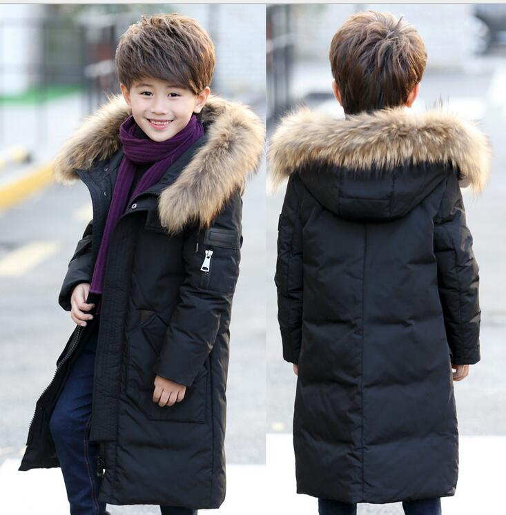2018Children's Down Jacket Big Fur Collar Long Thick Boys Winter parkas Duck Down Kids Winter Jackets for Boy Outerwear 5-12year cnmf moufu сайт плащ сросшиеся утолщение брезентовый плащ шахтеров плащ