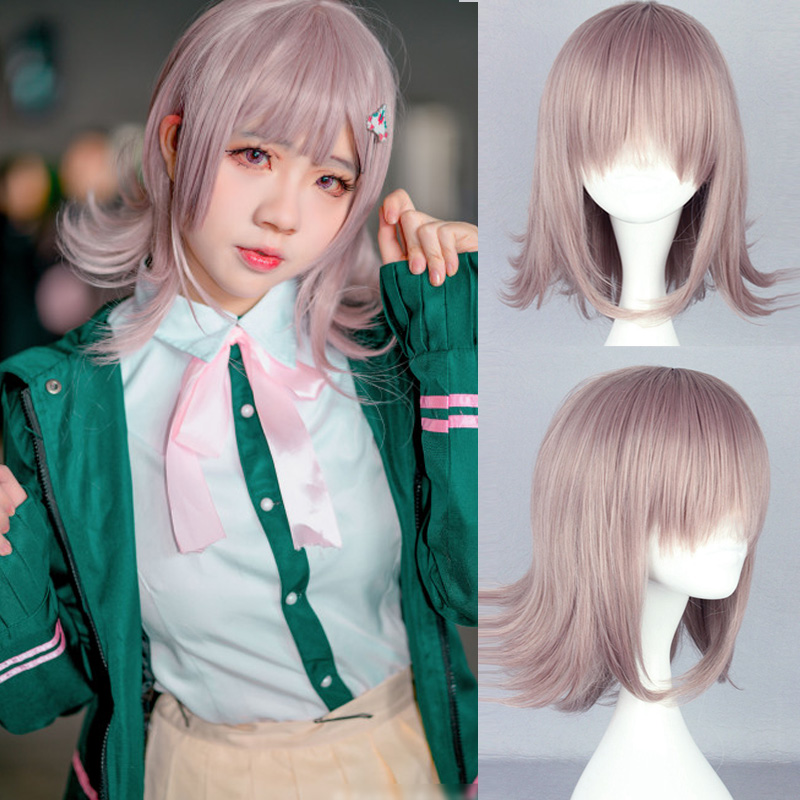 Super <font><b>DanganRonpa</b></font> <font><b>Cosplay</b></font> Wig Chiaki Nanami Costume Play Woman Adult Wigs Halloween Anime Game Hair + wig cap image