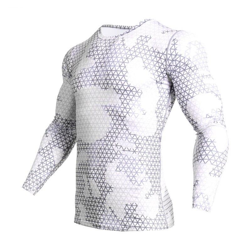 Men's White T-shirt Shirt Fitness Quick-drying Compression Tights Crossfit T-shirt Running Shirts Male Rashgard MMA Thermo Shirt