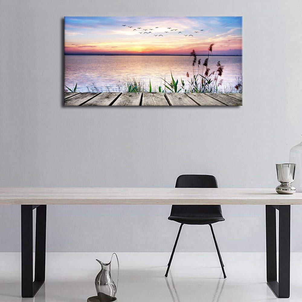 Us 22 34 16 offhd print canvas wall art dock peaceful lake sunset with flying birds panoramic poster painting for kitchen home wall decorative in