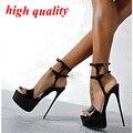 Насосы женские летние сандалии сексуальные насосы 16 см высокий каблук туфли женские каблуки партия Обуви ремешками сандалии белые свадебные туфли Y885