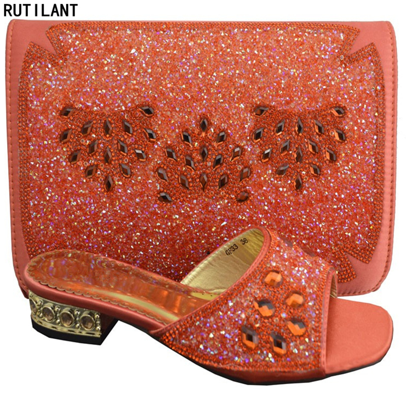 Orange Color Ladies Italian Shoes And Bag Set Decorated With Rhinestone Shoes And Bags To Match Nigerian Women Shoes And Bag Set