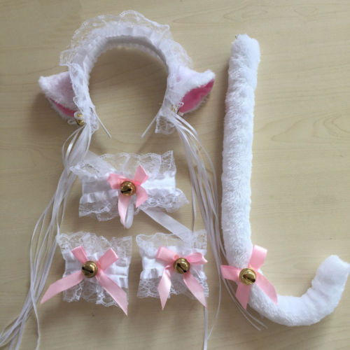 Women Cat Maid Cosplay Neko Costume Plush Lace Ears Headbands Tail Halloween
