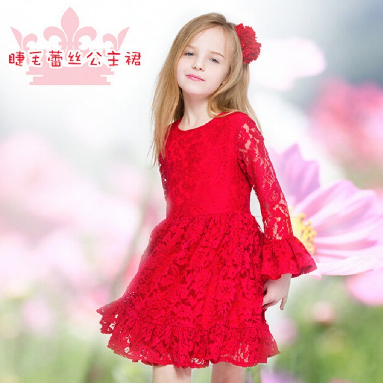 Baby Girls Dress 2016 Red Lace Princess Dress Brand Designer Long Sleeve Dresses Kids Clothes