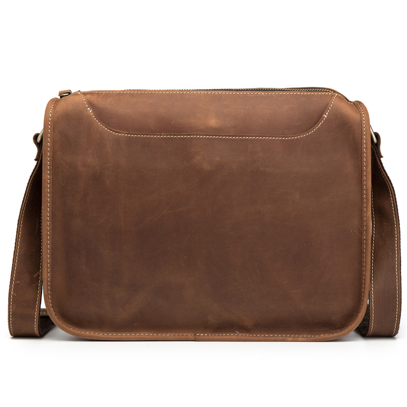 Man Briefcase Genuine Leather Crossbody Fashion Male Messenger Bags Shoulder Retro Handbag Flap Blosa Business Travel Ipad Gift