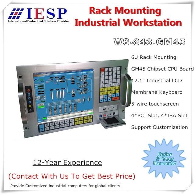 Station de travail industrielle à support 6U, CPU E5300, 2 go de RAM, HDD 500 go, 4xpci, 4xisa, ordinateur industriel à support, OEM/ODM