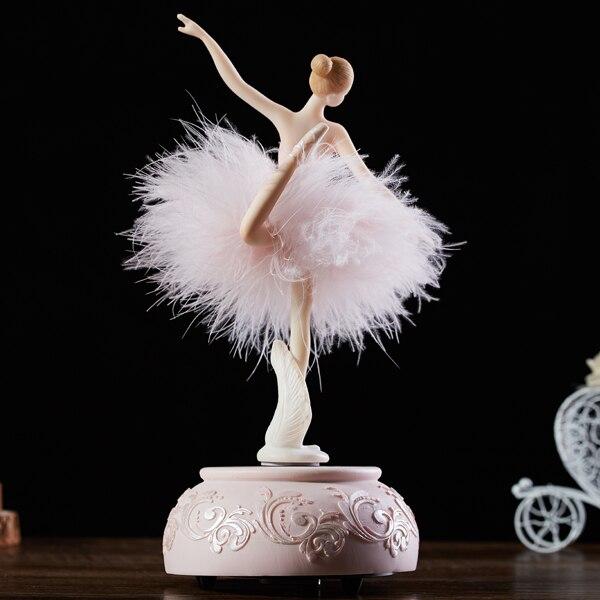 Ballerine rose aquatique boite à musique blanche Ballet fille rotative boite à musique jupe plume carrousel 3 dmariage cadeau d'anniversaire pour filles - 4