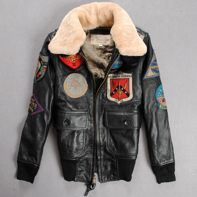 2018 air force Flight Jackets Motorcycle Genuine Leather Jacket Women Cow Leather Coat Fur Collar Bomber Jacket